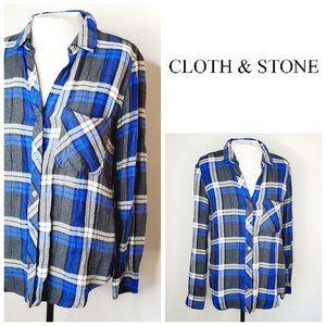 ANTHRO CLOTH & STONE Plaid Boyfriend Shirt